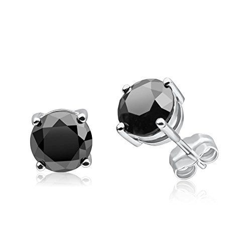 Diamond 2 5 Carat Total Weight Black Solitaire Stud Earrings