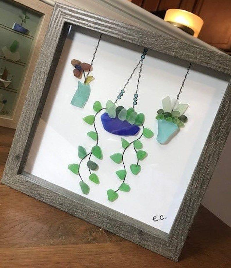 Photo of Custom Order- Sea Glass Framed Art / 8X8 3 Hanging Plants
