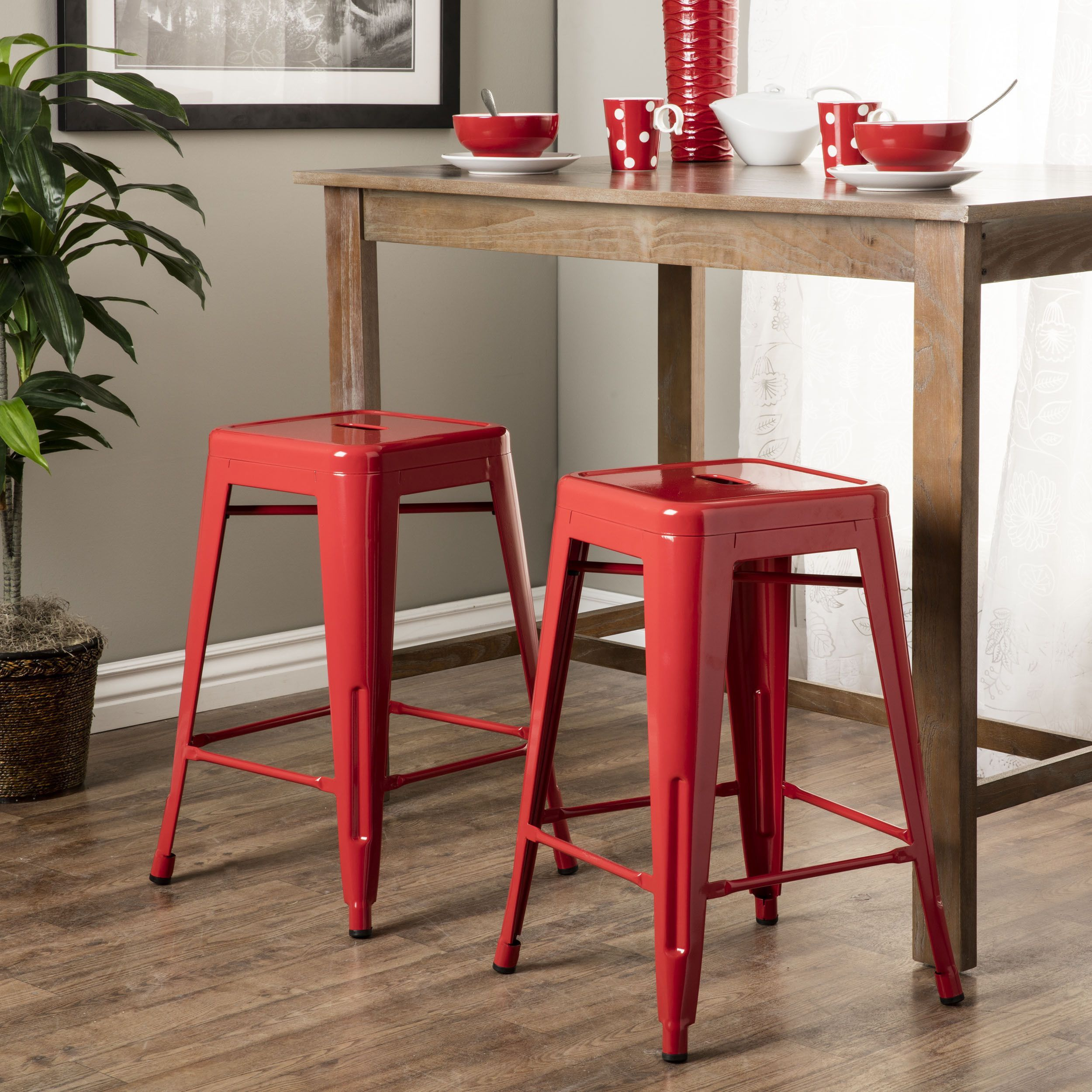 Tabouret 24 Inch Red Metal Counter Stools Set Of 2
