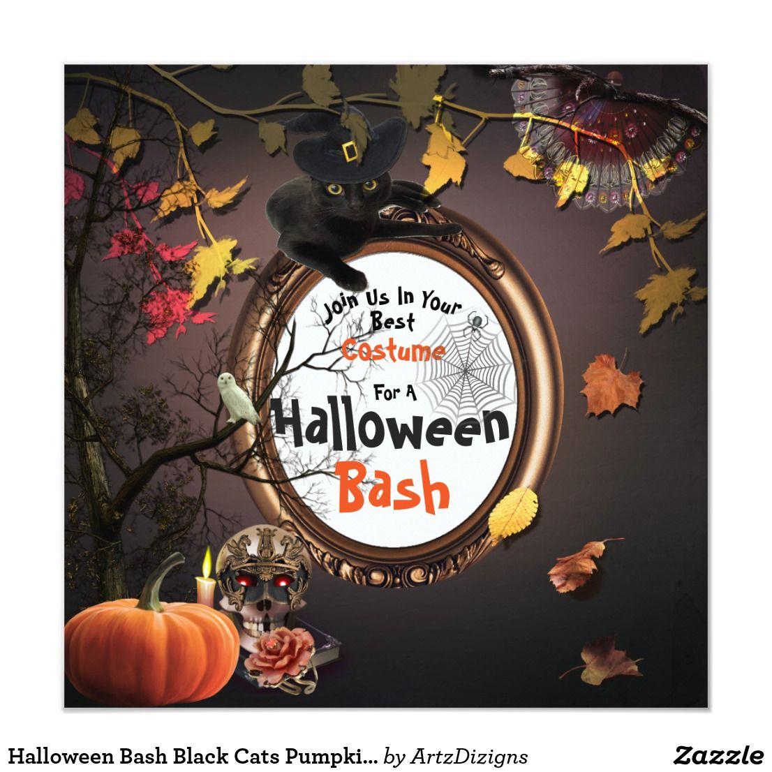 Halloween Bash Black Cats Pumpkins Invitation |