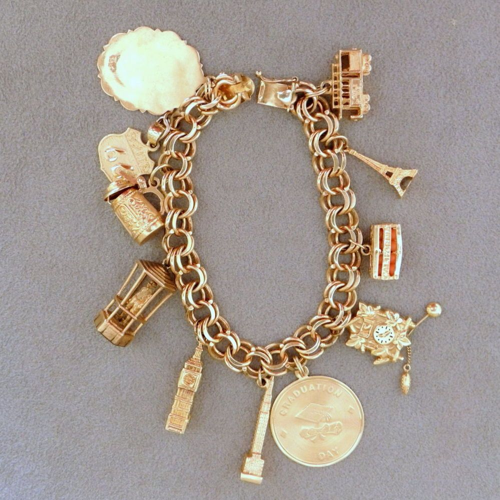 Jewelry Vintage Women S 14k Gold Charm Bracelet Charms 1 7 Oz Travel 1970s 5 Unbranded Traditional