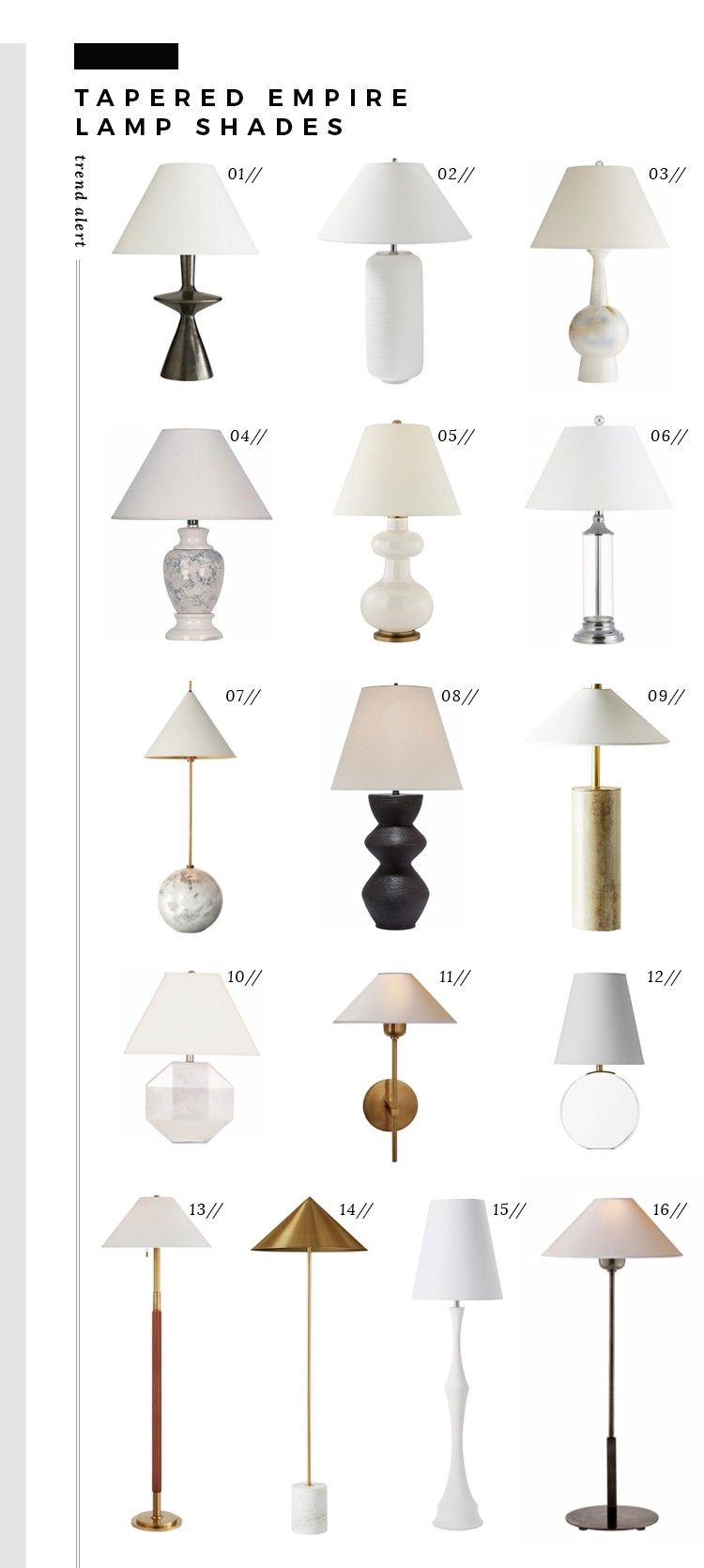 Trend Alert Tapered Empire Lamp Shades Room For Tuesday Modern Lamp Shades Lamp Shades Trend Alerts