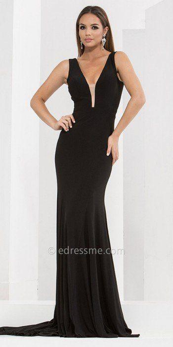 Elegant Low-Cut Evening Gown,
