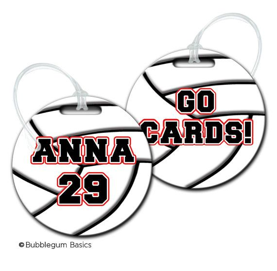 db4fee3bf73 CUSTOM Personalized Girls Volleyball Bag tag for backpack Luggage ID  Fiberglass not laminated diaper camera tote on Etsy, $10.00