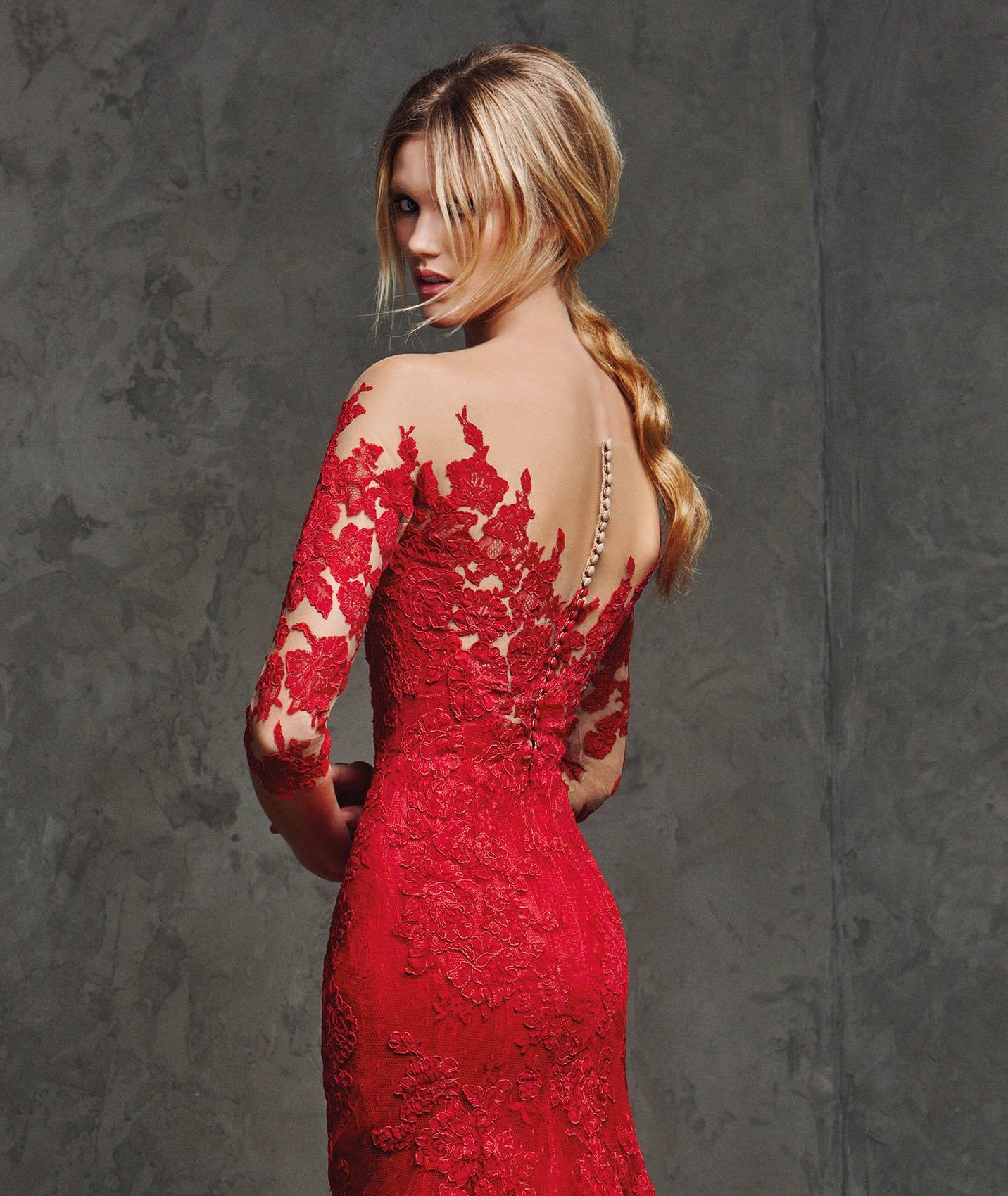 Long sleeve illusion floor length red lace trumpet mermaid evening