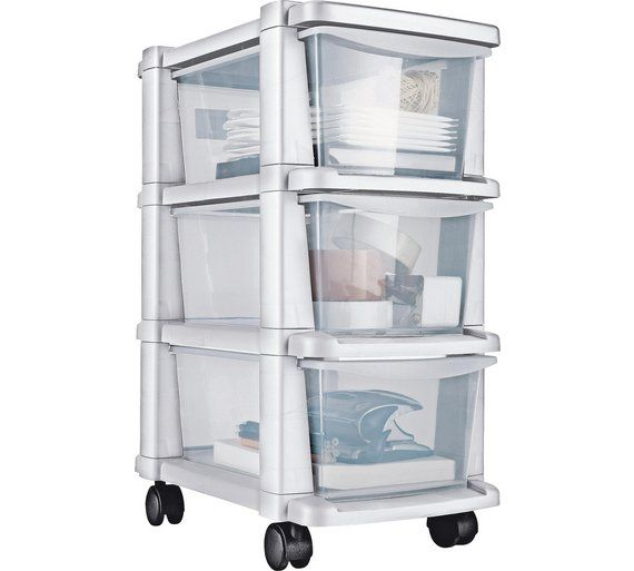Buy Home 3 Drawer Slim Tower Plastic Storage Unit White