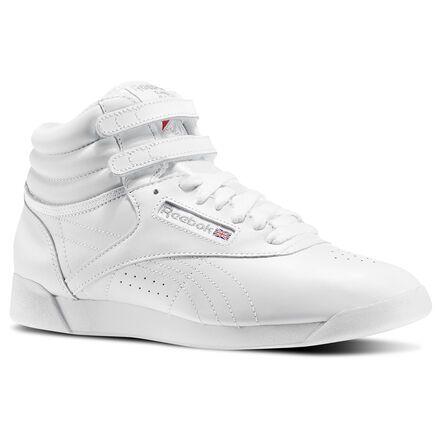 d8c2137f27 Reebok Shoes Women's Freestyle Hi in White/Silver Size 9.5 ...