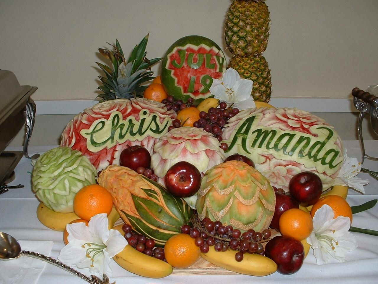 Elegant fruit displays carved