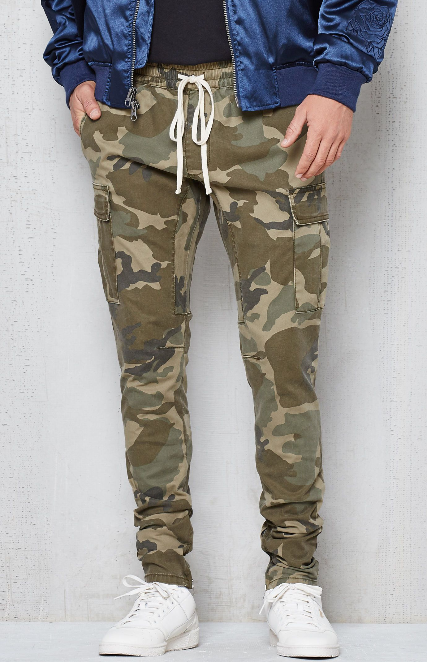 Hooked on Drop Skinny Camo Cargo Jogger Pants that I found on the PacSun App | Menu0026#39;s UrbN Wear ...