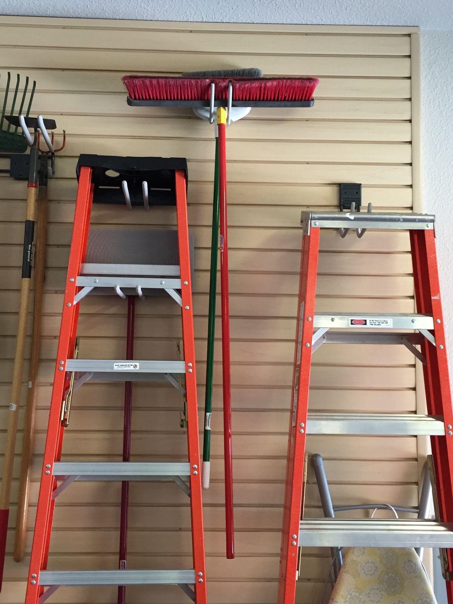 Slatwall Hooks Organize Your Ladders And Tools Garage Organization Slat Wall Ladder