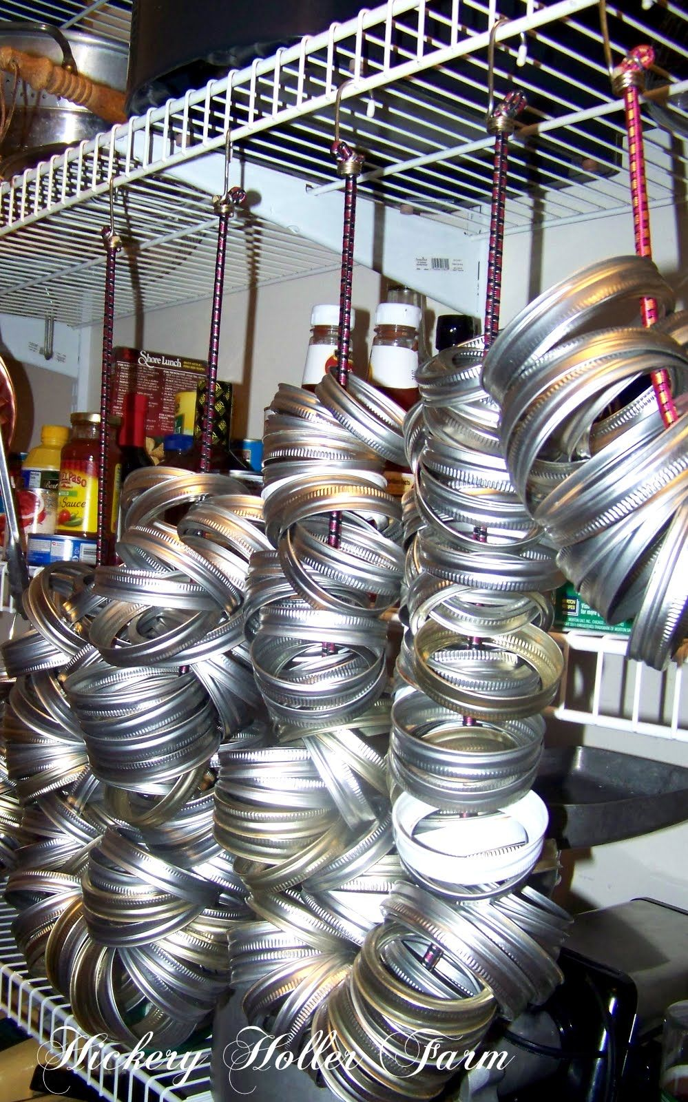 Use Bungee Cords on Wire Shelving To Store Canning Jar Rings, i also ...