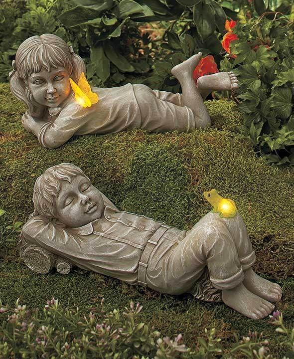 Statues Kids With Solar Fireflies Boy Or Girl Light Up Fireflies