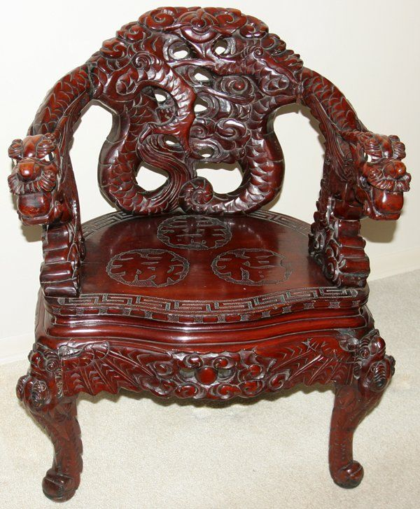CHINESE DRAGON TEAK WOOD CHAIR C1900 - CHINESE DRAGON TEAK WOOD CHAIR C1900 Wooden Art And Objects Hewn