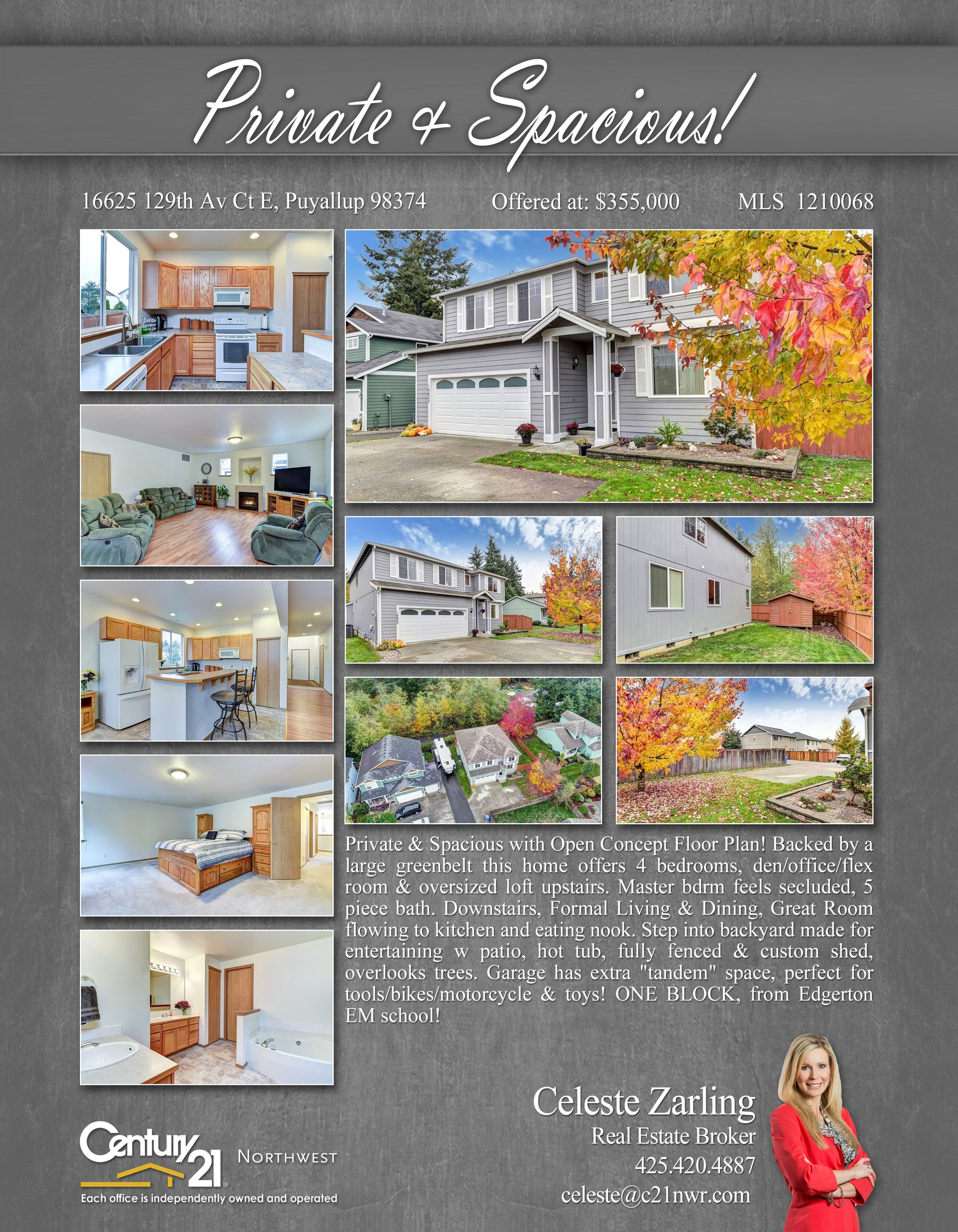 ... Floor Plan! Backed By A Large Greenbelt This Home Offers 4 Bedrooms,  Den/office/flex Room U0026 Oversized Loft Upstairs. Master Bdrm Feels Secluded, 5  Piece ...