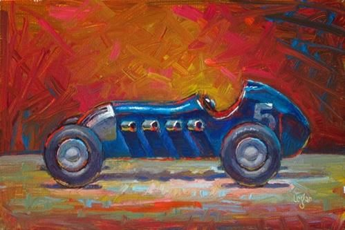 """Toy Roadster Blue"" - Original Fine Art for Sale - © Raymond Logan"