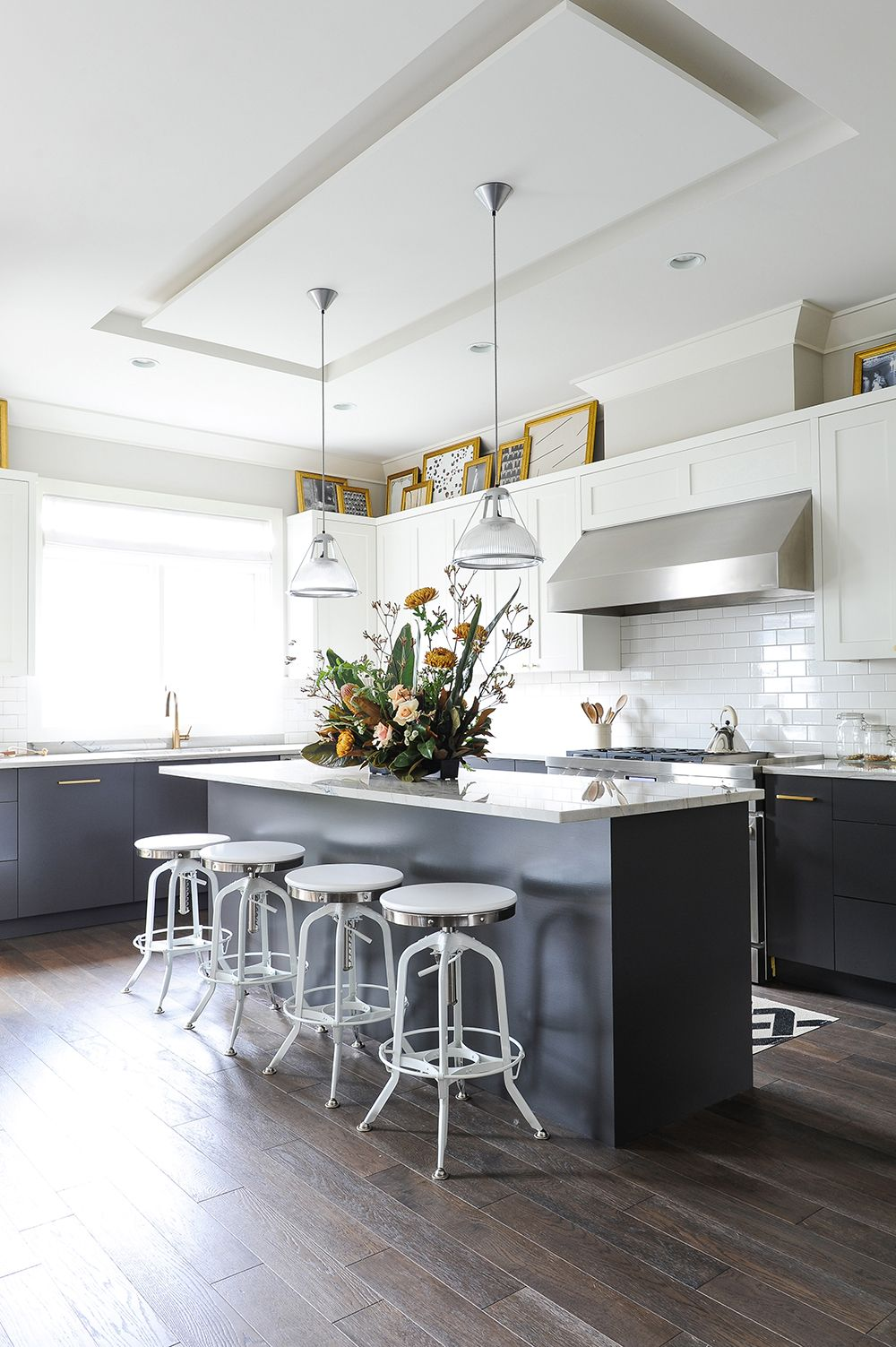 Best Bright White Kitchen With Grey Cabinetry And Gold Accents 400 x 300