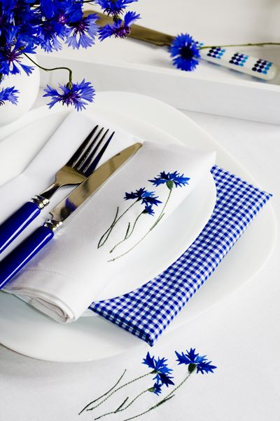 A pretty blue and white place setting.