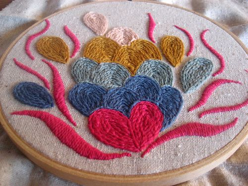 Crewel embroidery kit from Tako Fibers  made by Ara Jane. Sweet hearts!