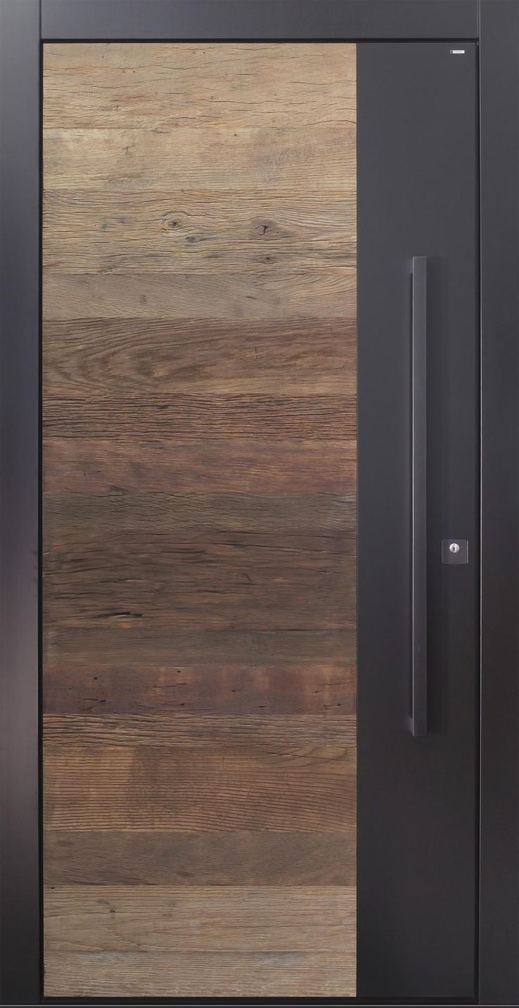 Front door modern anthracite wood old wood oak over 500 years pull handle in black security door passivhaustauglich TOPICcore better than alu   Front door modern anthraci...