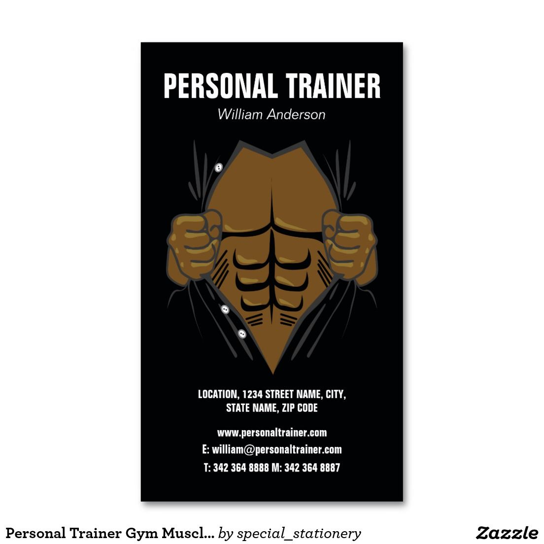 Personal Trainer Gym Muscle Exercise Business Card
