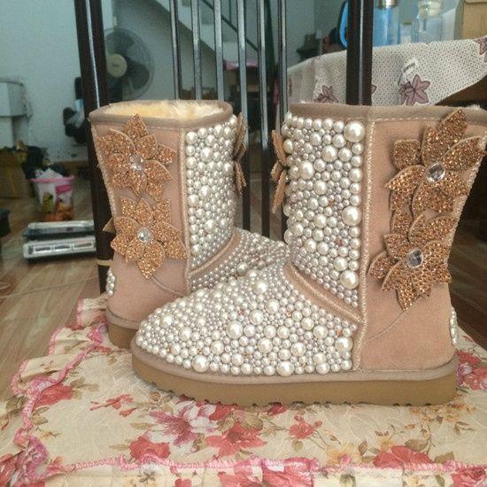 ef52a0d71a71b brand diy bling fashion handmade design rhinestone pearl women boots ...