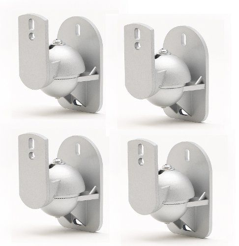 Techsol Essential Tss1 S 4 Pack Of Silver Universal Speaker Wall Mount Brackets By Techsol 17 99 The Speaker Wall Mounts Wall Mount Bracket Speaker Mounts