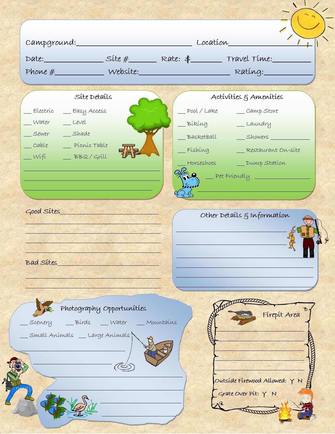 Camping Journal Campground Review Camping Binder Camping Notebook Campground Planner