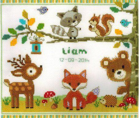 Vervaco Forest Animals Birth Sampler Cross Stitch Kit 0150179 123stitch Com Cross Stitch Animals Baby Cross Stitch Patterns Nursery Cross Stitch