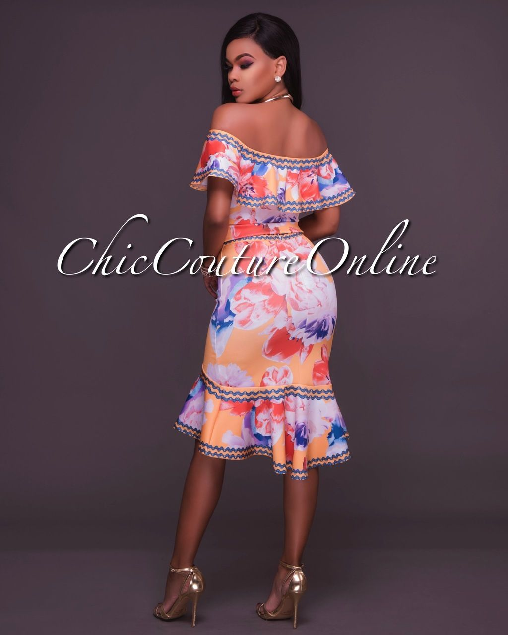 39dfc9c1fb7 Chic Couture Online - Margarita Yellow Multi-Color Floral Print Two Piece  Set