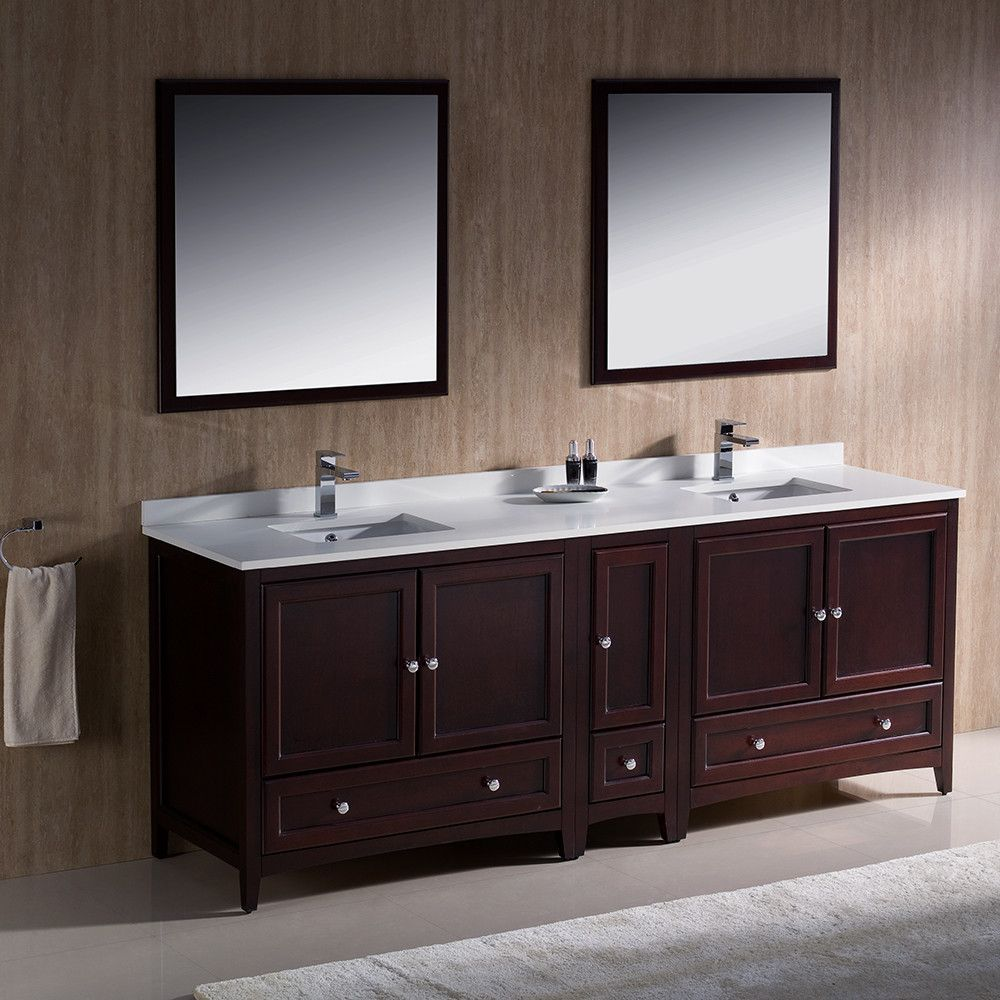 Fresca Oxford 84 Mahogany Traditional Double Sink Bathroom Vanity