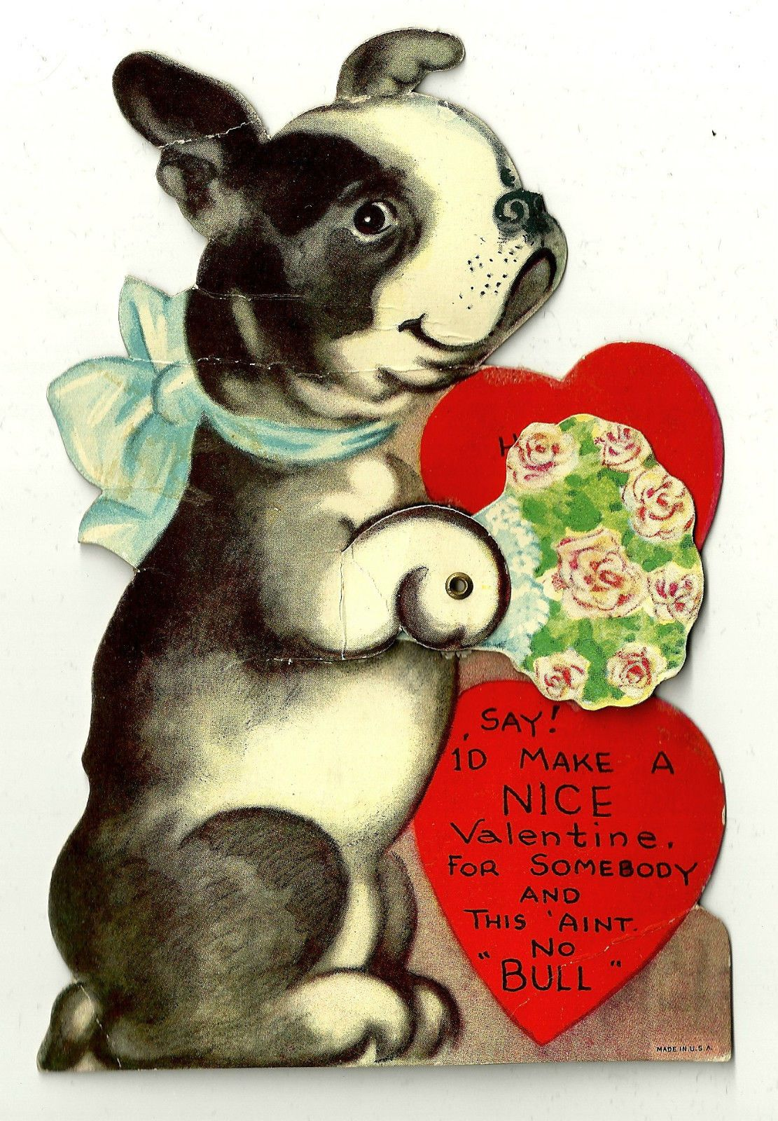 Boston Terrier Puppy Dog With Valentine Greeting Ain T No Bull Vintage Card Ebay Dog Valentines Boston Terrier Art Boston Terrier Puppy