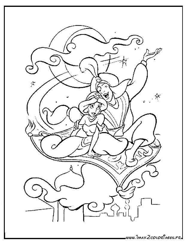 Jasmine Et Aladdin Sur Le Tapis Volant Coloriage Disney