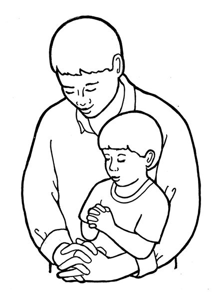Un ejemplo blanco y negro de un hombre y un niño inclinando la ...