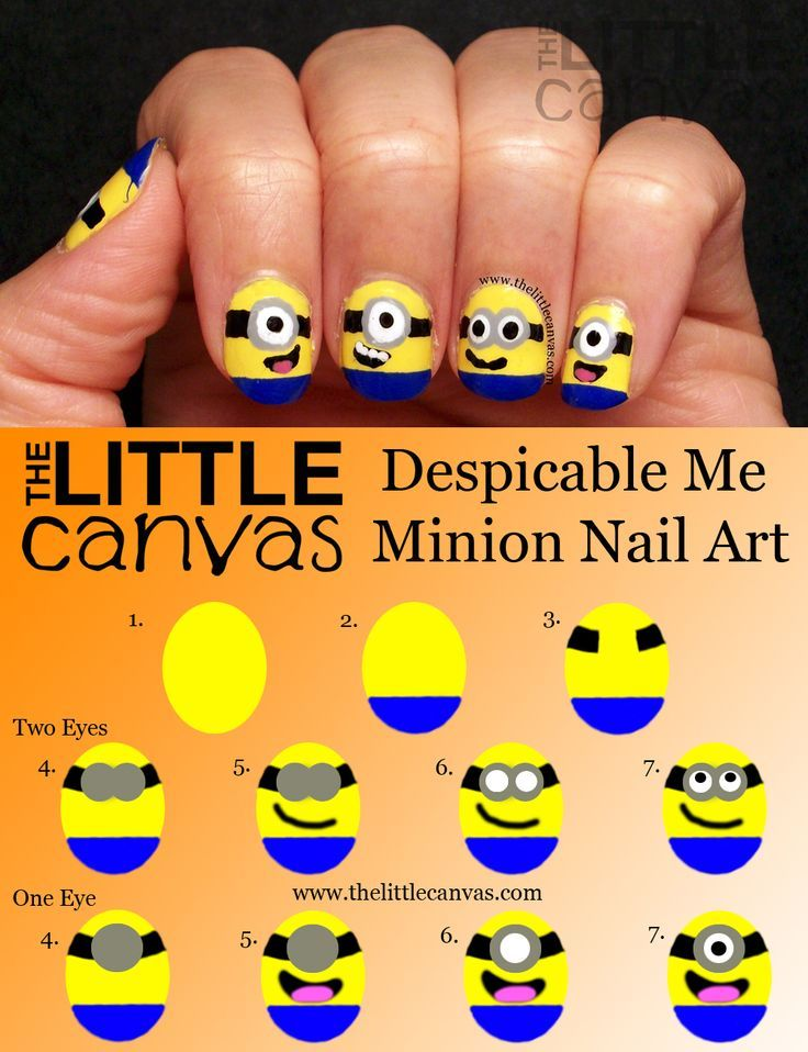 Nail Design Inspired by Despicable Me Minions | Manicuras, Diseños ...