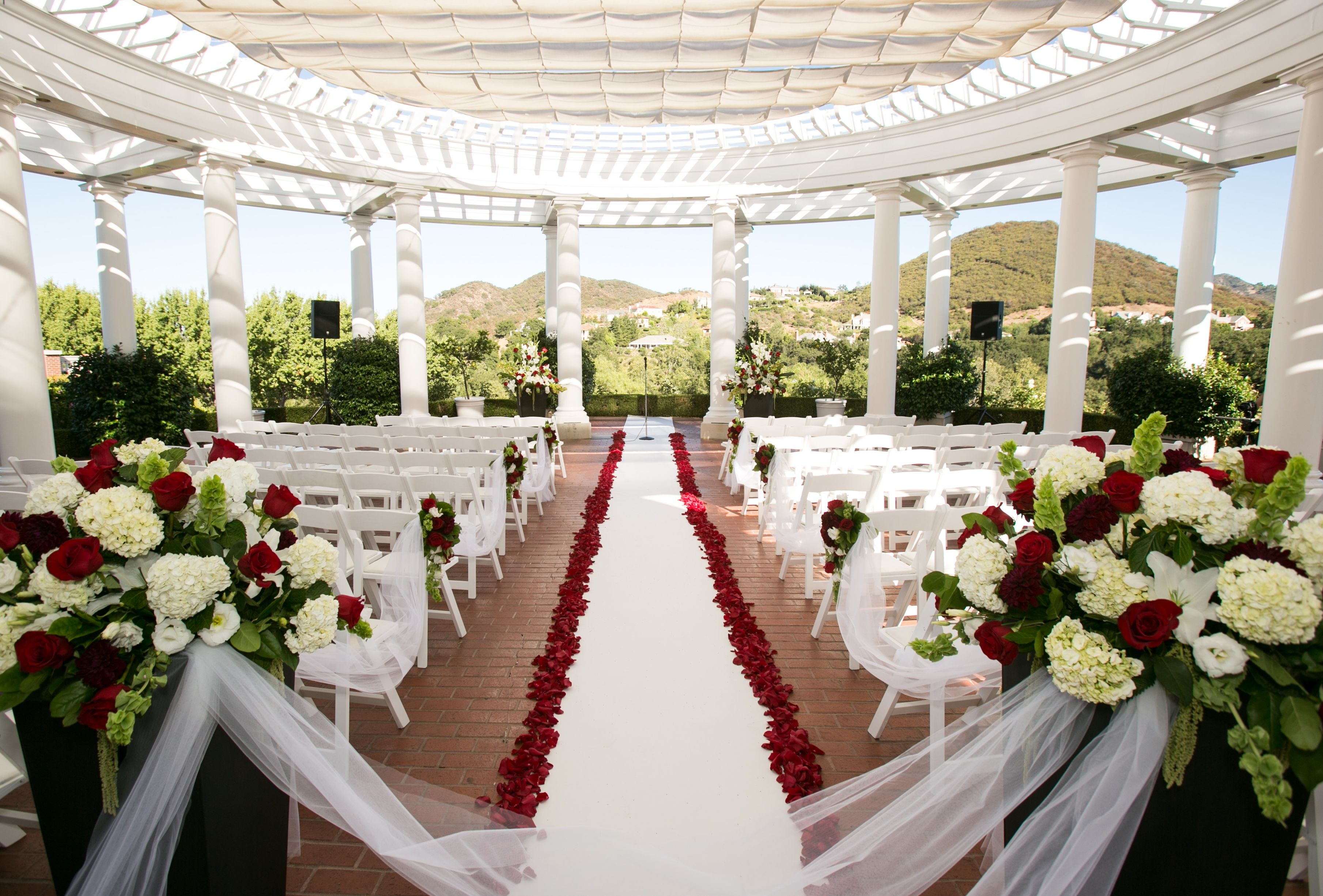 Delmar Events Red Black And White Wedding Ceremony Outdoor Red