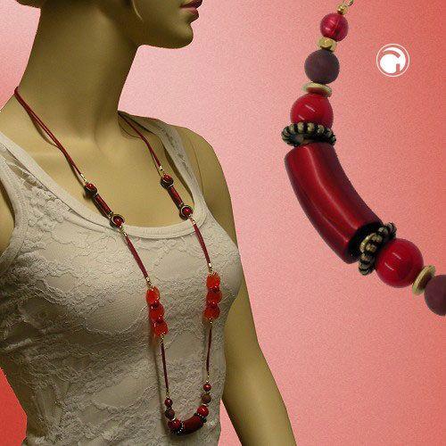 Kette, Perlen seide-rot, altmessing 100cm accessorize24-01184