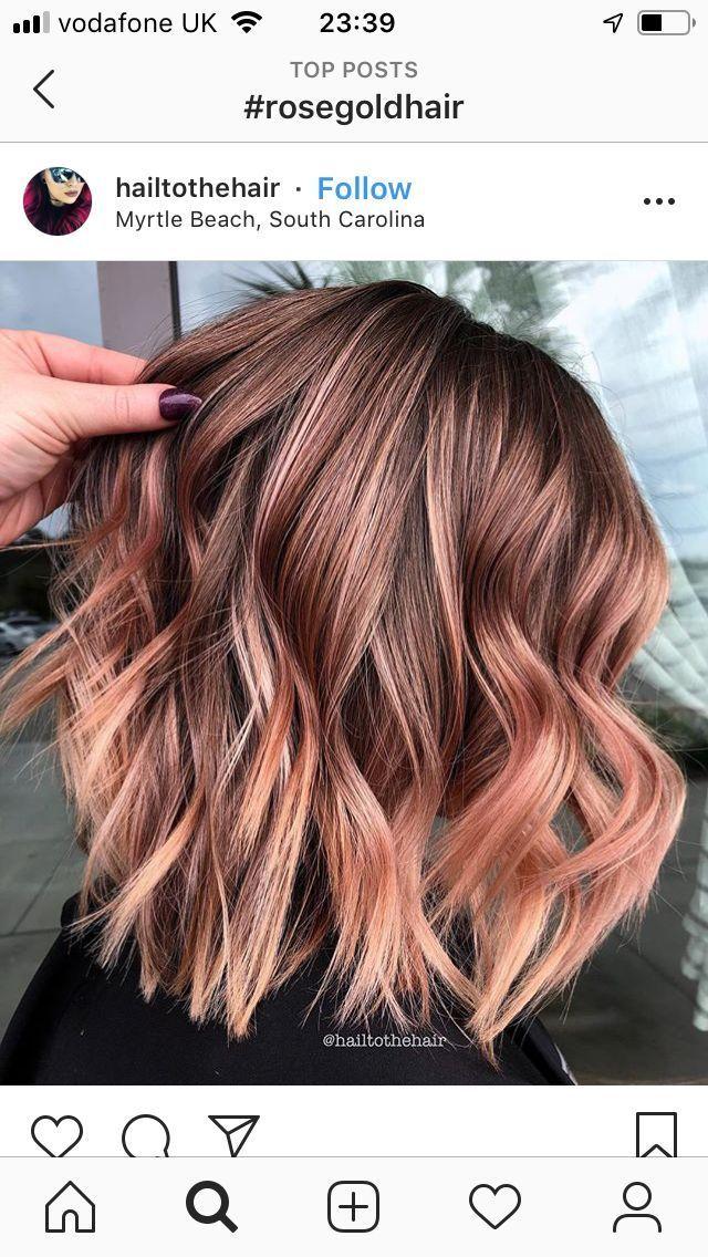 Rose Gold Hair 275 Images Balayage Hair Rose Rose Gold Hair Brunette Short Hair Balayage