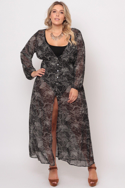 3c955ac726 Plus Size Sheer Flowy Dress