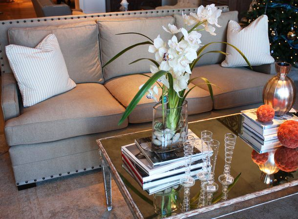Gray Upholstered Sofa With Nailhead Trim Mirrored Coffee Table