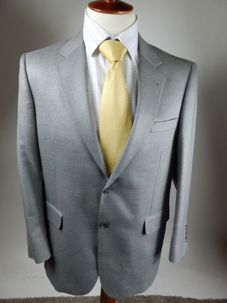 Jos A Banks 2 Button Gray Sport Coat Blazer Jacket Camel Hair Silk ...