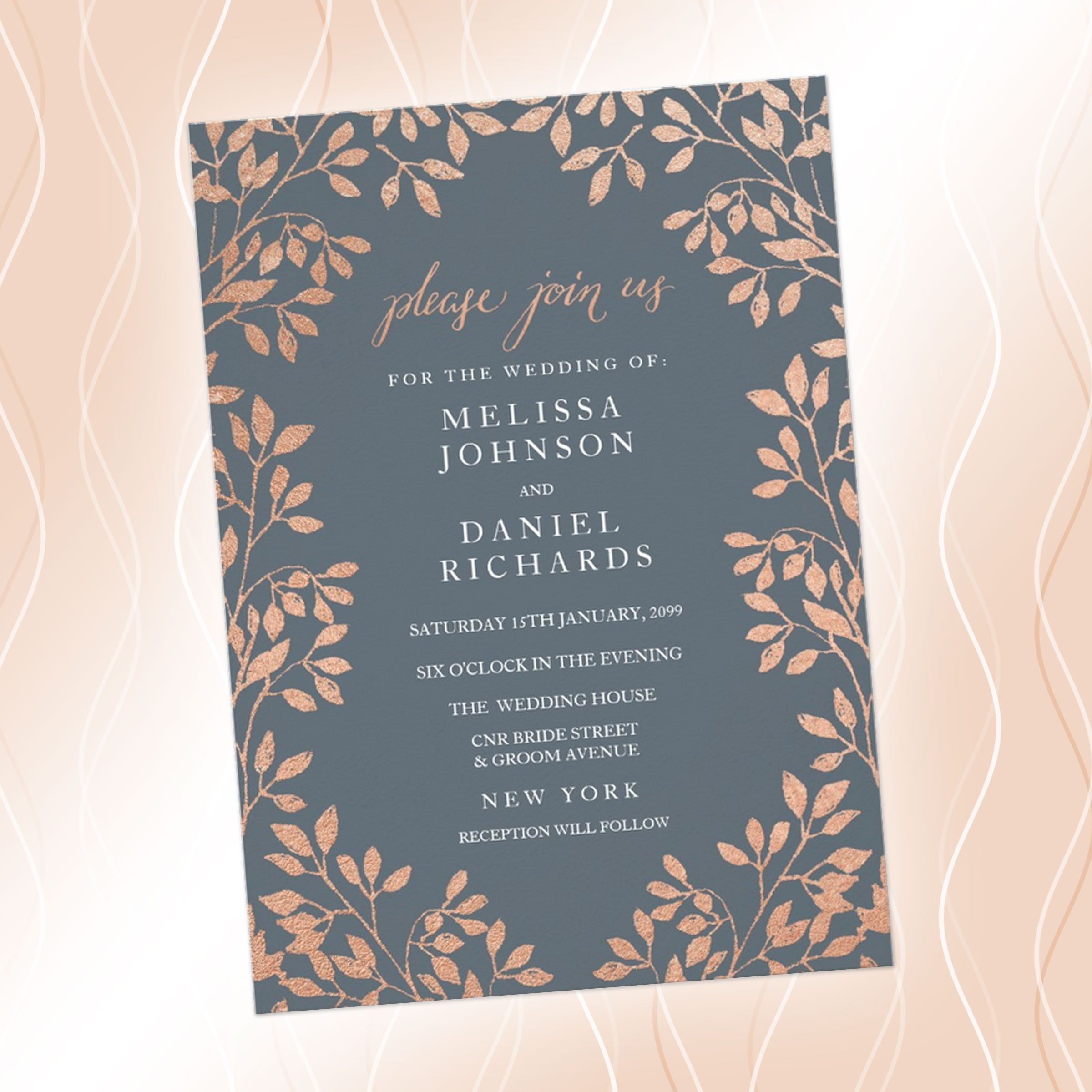 3 Rustic Wedding Invitation Card With Border Of Bronze Leaves