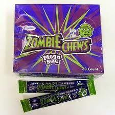 Zombie, zombie chews, gets ya goin' gets ya through