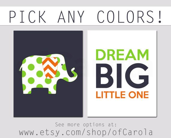 Dream Big Little One Baby Boy Decor Wall Art Print Set by ofCarola, $19.00