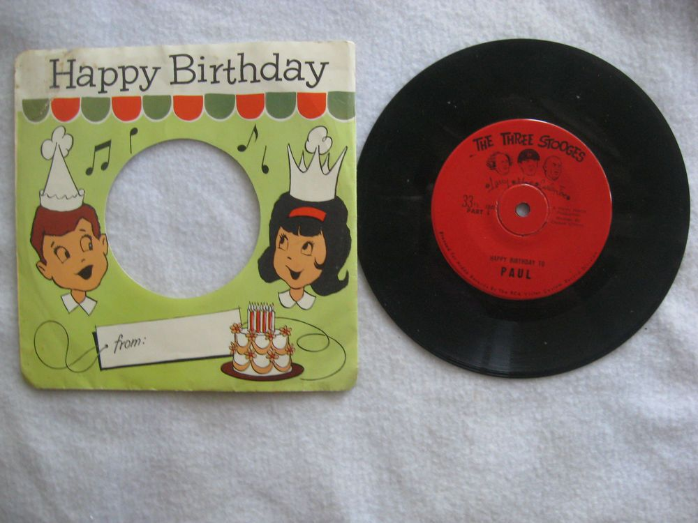 Vintage The Three Stooges Happy Birthday Record Paul 1961 With Original Sleeve Comedynoveltymusic Happy Birthday Birthday The Three Stooges