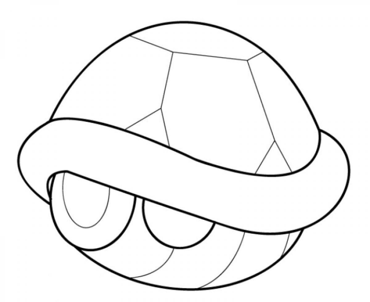 Mario Kart Turtle Shell Coloring Page Super Mario Coloring Pages