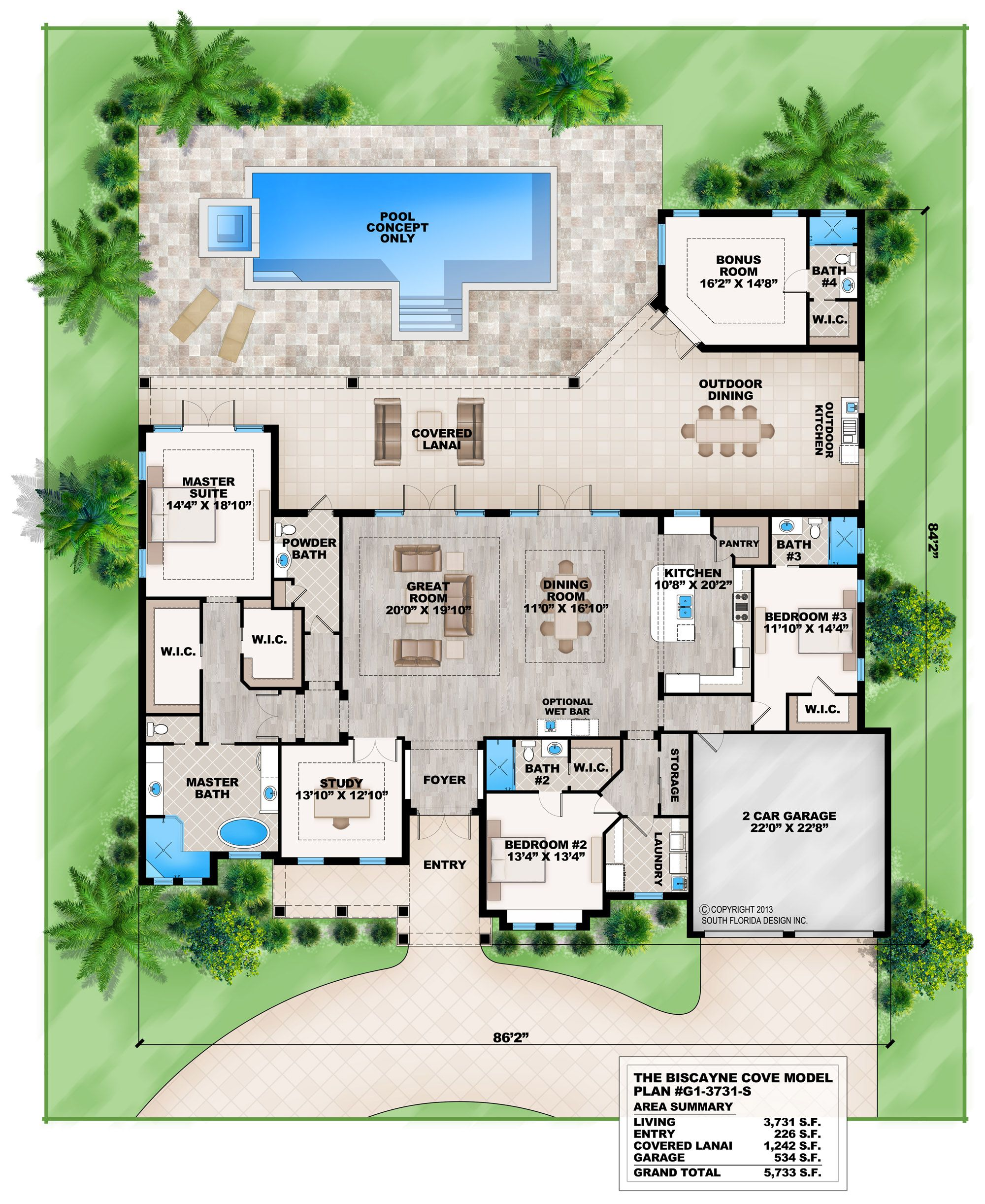 This 4 bedroom Coastal Contemporary house plan features a great room