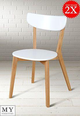 2 X Vegard Mid Century Classic Scandinavian Design Dining Chair In White Chair Design Scandinavian Chairs Furniture