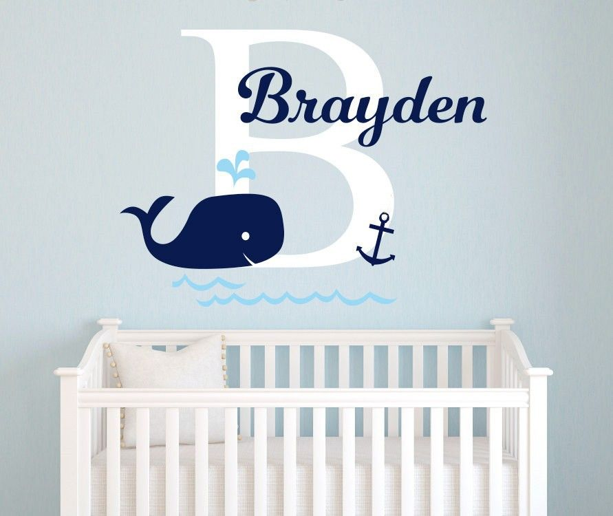 Personalized Baby Name Wall Decals Nursery Whale Anchor Vinyl Nautical Kids Room Decor Wall Sticke Nautical Baby Room Whale Baby Room Nautical Baby Nursery