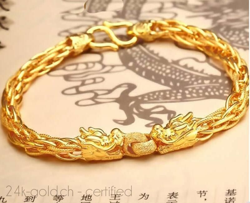 New Authentic 999 Solid 24k Yellow Gold Bracelet Pure gold dragon