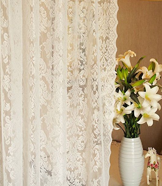 Fairy Tale Damascus Pattern Light Natural White Sheer